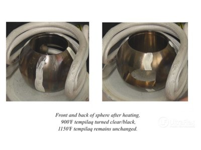 Front and back of sphere after heating
