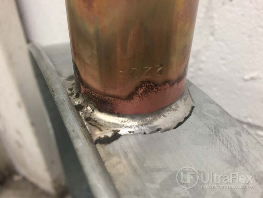 Soldering brass tube to galvanized steel pans