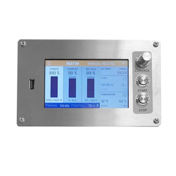 Touch screen panel for air-cooled induction heater