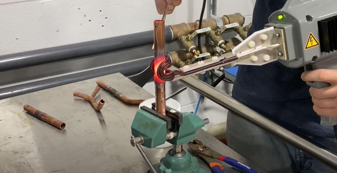 induction brazing of copper pipe with a brazing gun